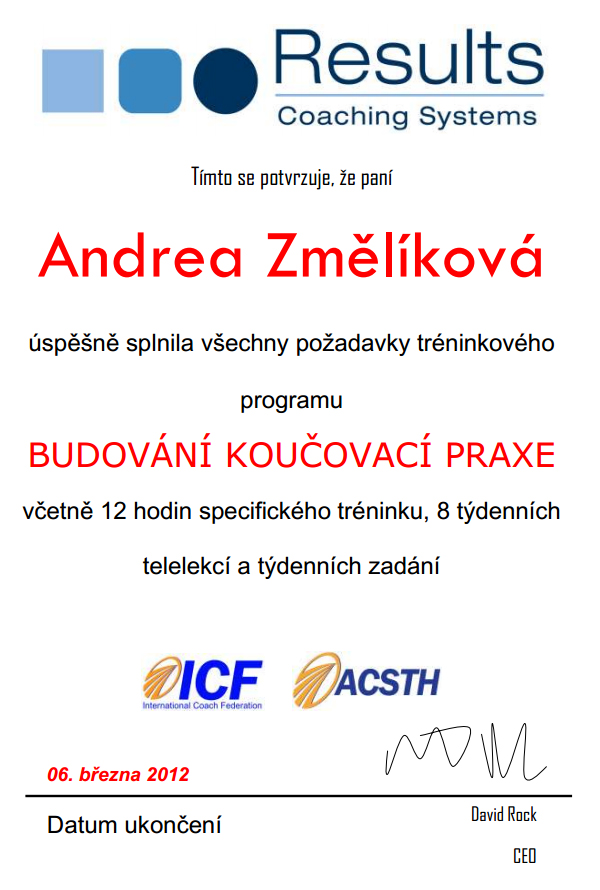 Certifikát - budování koučovací praxe